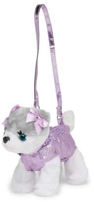 Confetti Lavender Smiley Pom Puppy Purse