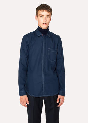 Paul Smith Men's Slim-Fit Navy Shirt With Contrast Stitching