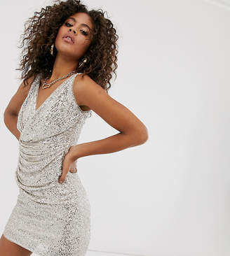 TFNC Tall Tall wrap front sequin mini dress in silver