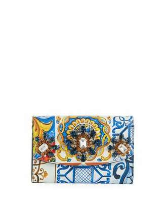 Dolce & Gabbana Jeweled Printed Leather Wallet On A Chain