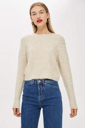 Topshop Womens Ribbed Cropped Jumper