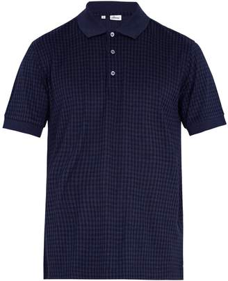 Brioni Checked cotton and silk-blend polo shirt