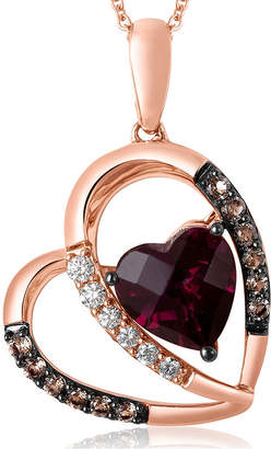 LeVian CORP Grand Sample Sale by Le Vian Raspberry Rhodolite, Chocolate Quartz, 1/10 CT. T.W. Vanilla Diamonds 14K Strawberry Gold Heart Pendant Necklace