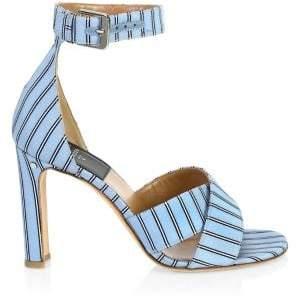 Laurence Dacade Thilan Striped Silk High-Heel Sandals