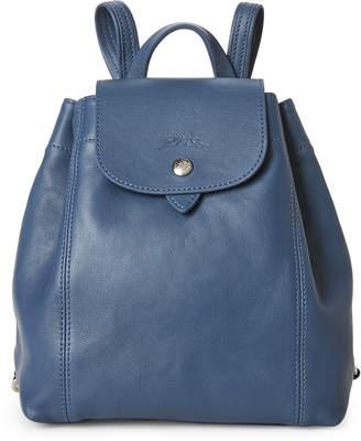 Longchamp Pilot Blue Le Pliage Cuir Backpack
