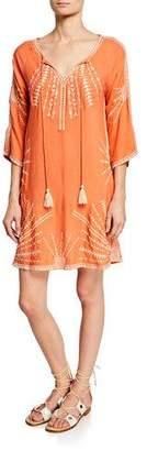 Tolani Kezia Embroidered Split-Neck 3/4-Sleeve Cotton Dress w/ Pockets