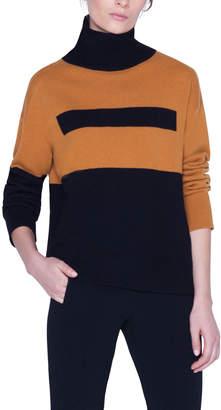 Akris Boxy Bicolor Turtleneck Sweater