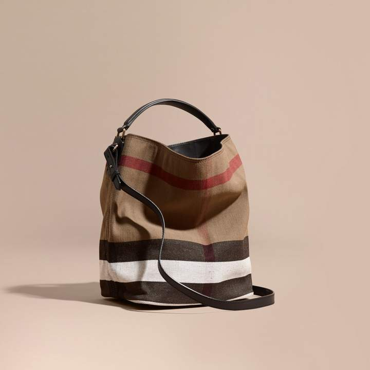 Burberry The Medium Ashby in Canvas Check and Leather