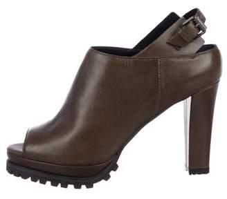 AllSaints Leather Peep-Toe Ankle Booties