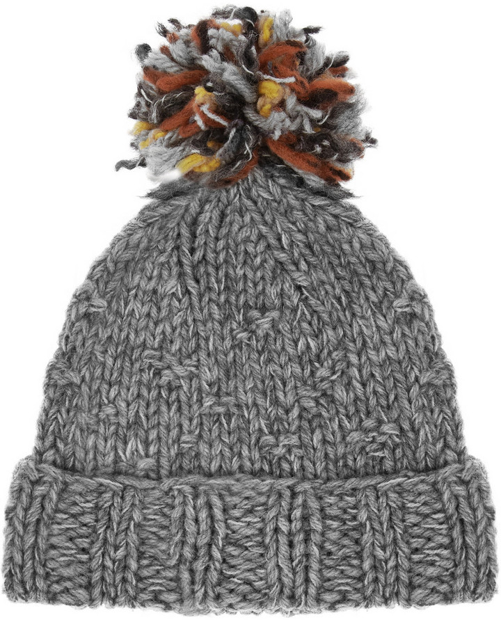 Mulberry Chunky-knit wool-blend beanie