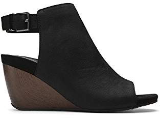Kenneth Cole Reaction Women's Cake Jar Leather Peep Toe Wedge Sandal and Adjustable Backstrap
