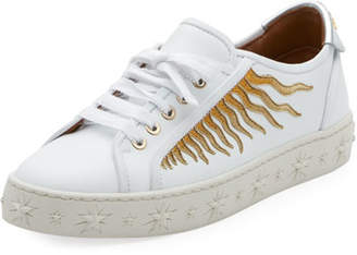 Aquazzura Sun Ray Embellished Leather Sneakers