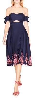 Rachel Roy April Off-Shoulder Embroidered Fit-&-Flare Dress