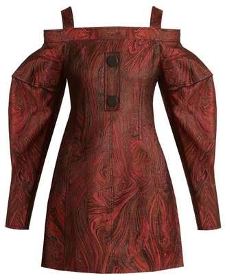 Ellery - Bougie Off The Shoulder Marble Jacquard Dress - Womens - Black Multi