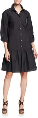 Brunello Cucinelli Monili Trim Drop-Waist Crinkle Cotton Shirtdress