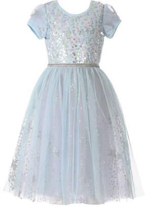 Hannah Banana Girl's Ice Princess Sequin Glitter Dress, Size 2-6