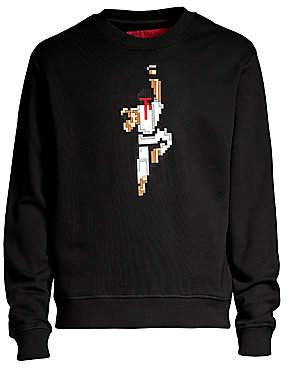 Mostly Heard Rarely Seen Men's Warrior Pixelated Graphic Pullover