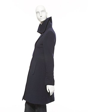 Searle, 3/4 length merino wool coat with assorted gold buttons
