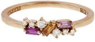 Suzanne Kalan Round White Diamond and Sapphire Baguette Ring - Rose Gold