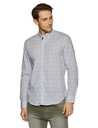Casual Terrains Men's Tailored Slim-Fit Vintage Button-Down Collar Printed Taped Shirt