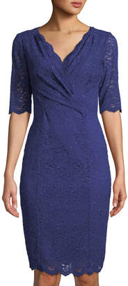 Tahari ASL 1/2-Sleeve Scalloped-Lace Dress