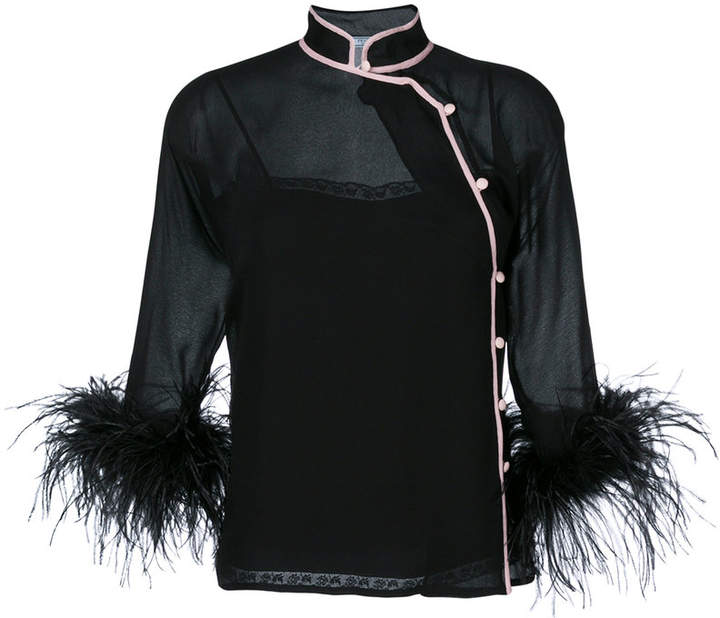 Prada feather trim blouse