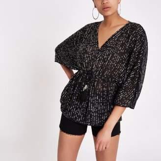 River Island Black sequin embellished tie waist kimono top