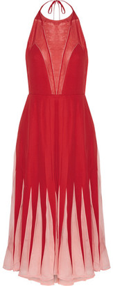Chiffon-trimmed Silk Crepe De Chine Halterneck Midi Dress - Red