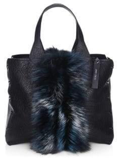 Jimmy Choo Lockett Fox Fur & Grainy Leather Tote