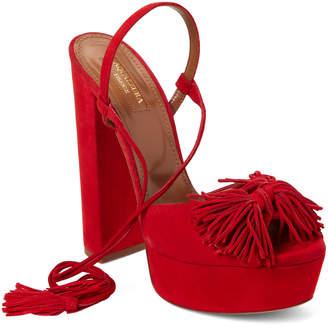 Aquazzura Lipstick Red Wild One Fringed Platform Sandals