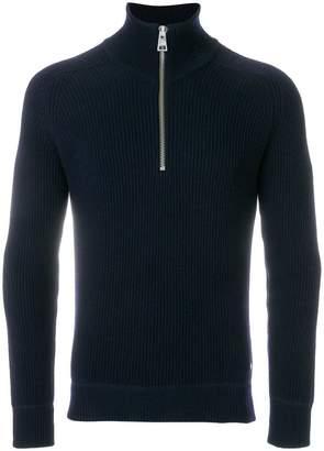 Ami Alexandre Mattiussi Funnel Neck Fisherman's Rib Sweater