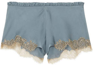 Carine Gilson Flottant Chantilly Lace-trimmed Silk-satin Shorts - Blue