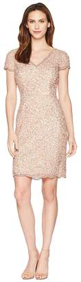 Adrianna Papell Scallop Neck Beaded Cocktail Dress Women's Dress