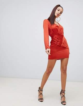 Missguided satin side split shift dress in rust