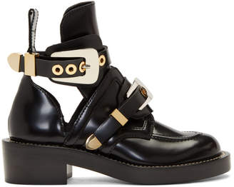 Balenciaga Black Leather Buckle Boots