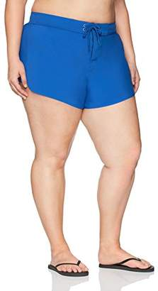 Coastal Blue Women's Plus Size Swimwear Drawstring Boardshort with Insets