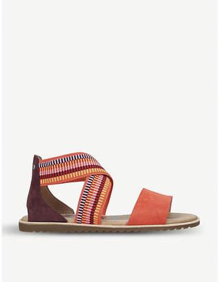 Sorel Ella striped-strap leather and textile sandals