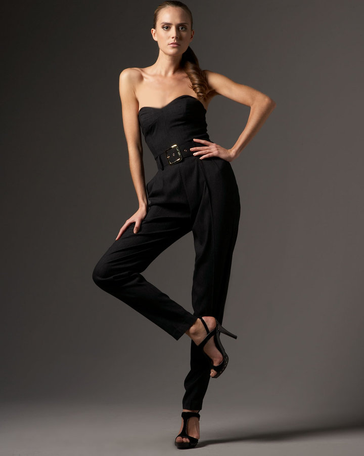 Milly Strapless Silk Jumpsuit