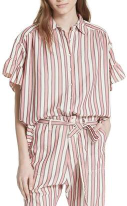 The Great FLOUNCE SLEEVE BUTTON UP