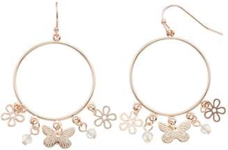 Lauren Conrad Butterfly & Flower Nickel Free Hoop Drop Earrings
