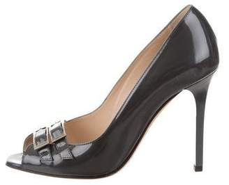 Jimmy Choo Patent Leather Peep-Toe Pumps