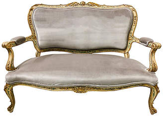 One Kings Lane Vintage French Painted Giltwood Settee - Von Meyer Ltd.