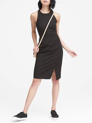 Banana Republic Petite Bi-Stretch Racer-Neck Sheath Dress