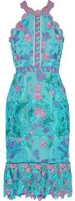 Marchesa Ruffled Floral-Appliquéd Guipure Lace Dress