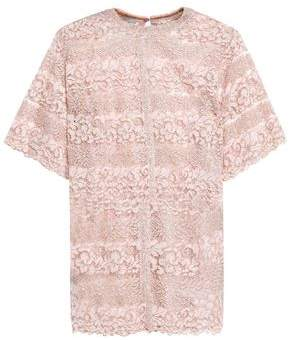 Valentino Metallic Cotton-Blend Lace Top