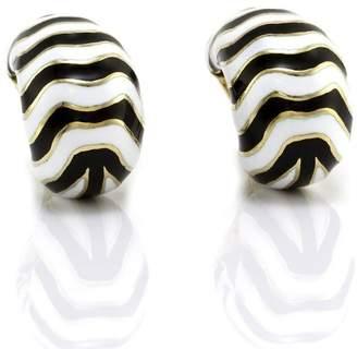 18K Yellow Gold Kingdom Enamel Zebra Earrings