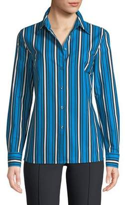 Escada Vertical-Stripe Button-Front Long-Sleeve Shirt