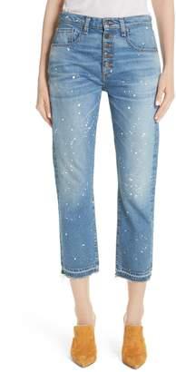 Veronica Beard Ines Paint Splatter Crop Girlfriend Jeans