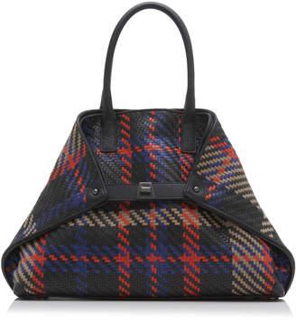 Akris Ai Small Woven Leather Top Handle Bag