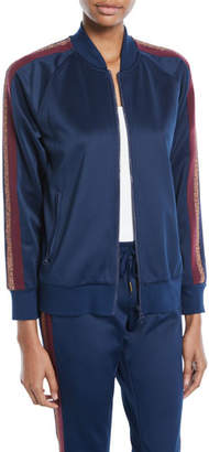 Pam & Gela Zip-Front Track Jacket w/ Metallic Stripes
